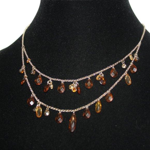 "Stunning gold layered smoky topaz necklace 17.5"""